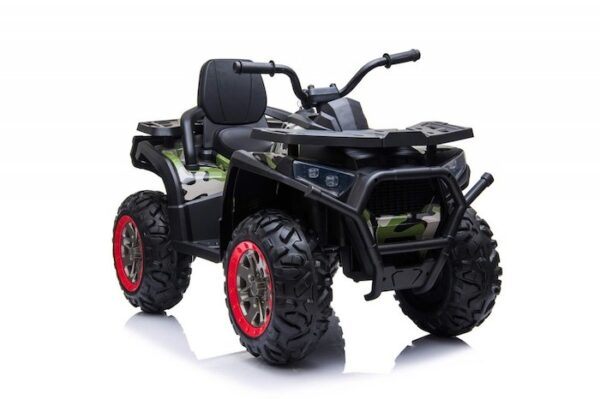 Desert Commander 24v (2 x 12v) Ride On Electric Kids Quad - Four Wheel Drive - EVA Rubber Wheels - Army