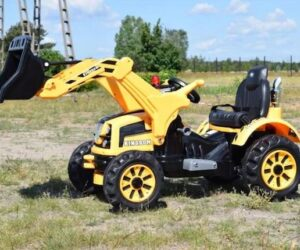 KINGDOM- 12v Electric Tractor with Loader - Yellow